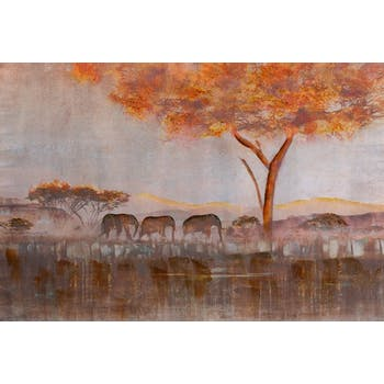 Tableau Paysage animalier 100x150. Peinture acrylique