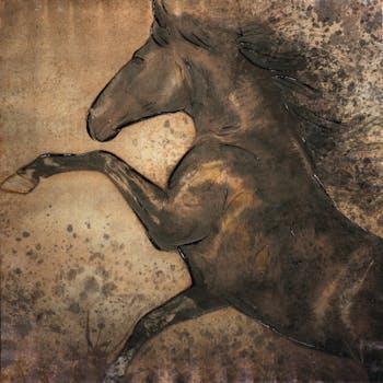 Peinture acrylique 100x100 - cheval au galop, tons marron
