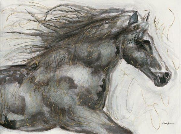 Tableau Cheval 90x120 Doré. Peinture acrylique
