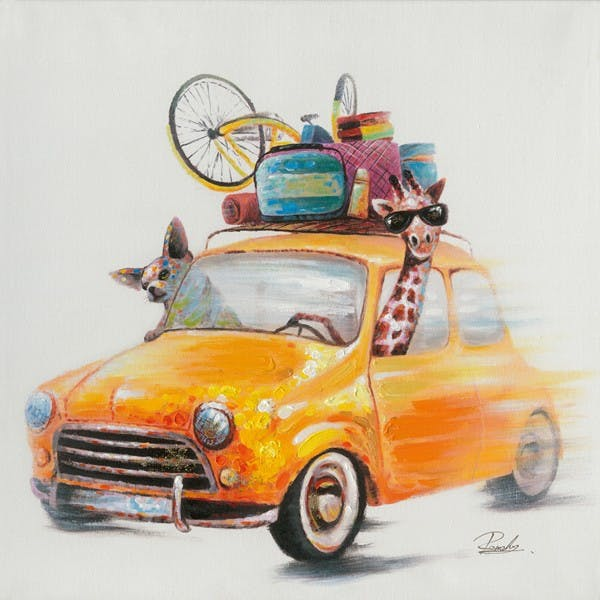 Tableau Animaux en voiture POP ART 70X70 Peinture acrylique