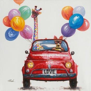 Tableau Pop Art 70X70 - animaux en voiture, peinture sur toile