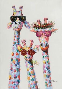 Tableaux Girafes POP ART 70X100 Doré. Peinture acrylique et feuilles métal