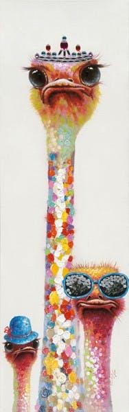 Tableau Autruches POP ART 50X160 Argenté. Peinture acrylique effet pailleté