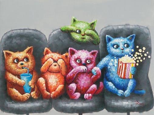 Tableau Chats POP ART 90x120 Peinture acrylique