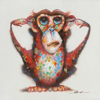 Tableau Pop-Art singe sourd 60X60 - peinture et feuilles métal