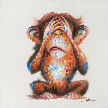 Tableau singe aveugle Pop-Art 60X60 - peinture et feuilles métal