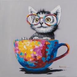 Tableau Chat POP ART 60x60 Peinture acrylique