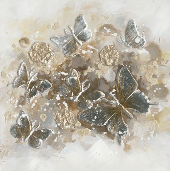 Tableau nuée de papillons 60x60 - peinture or & argent en relief