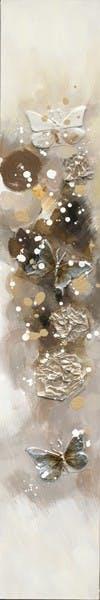Tableau Papillons 25x150 Argenté Doré. Ajout de matières en relief. Peinture acrylique