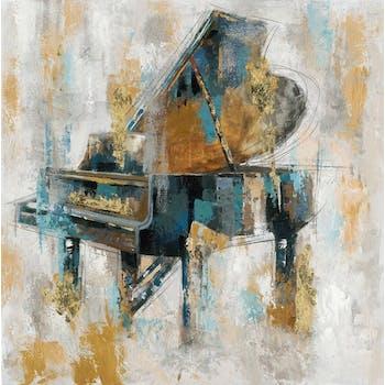 Tableau Piano 100x100 Doré. Peinture acrylique et feuilles métal