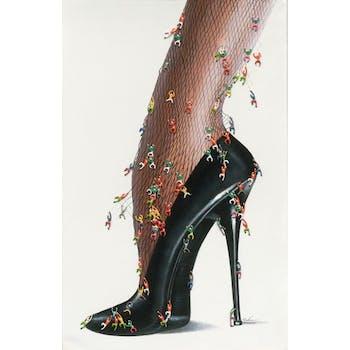Tableau Chaussure POP ART 90X140. Effet 3D. Peinture acrylique