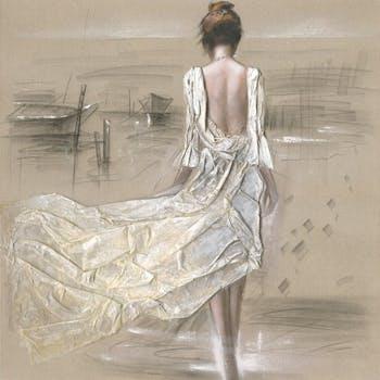Tableau Femme 100x100 peint sur toile fibre naturelle et ajout de matière en relief. Peinture acrylique