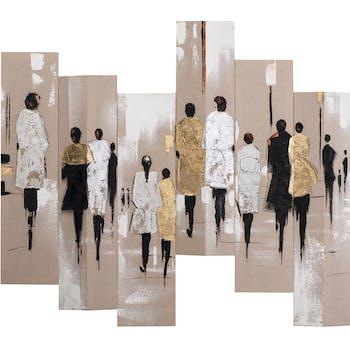 Tableau Hommes et Femmes Sixtyque 105x120. Doré. Peint sur toile fibre naturelle. Effet 3D. Peinture acrylique