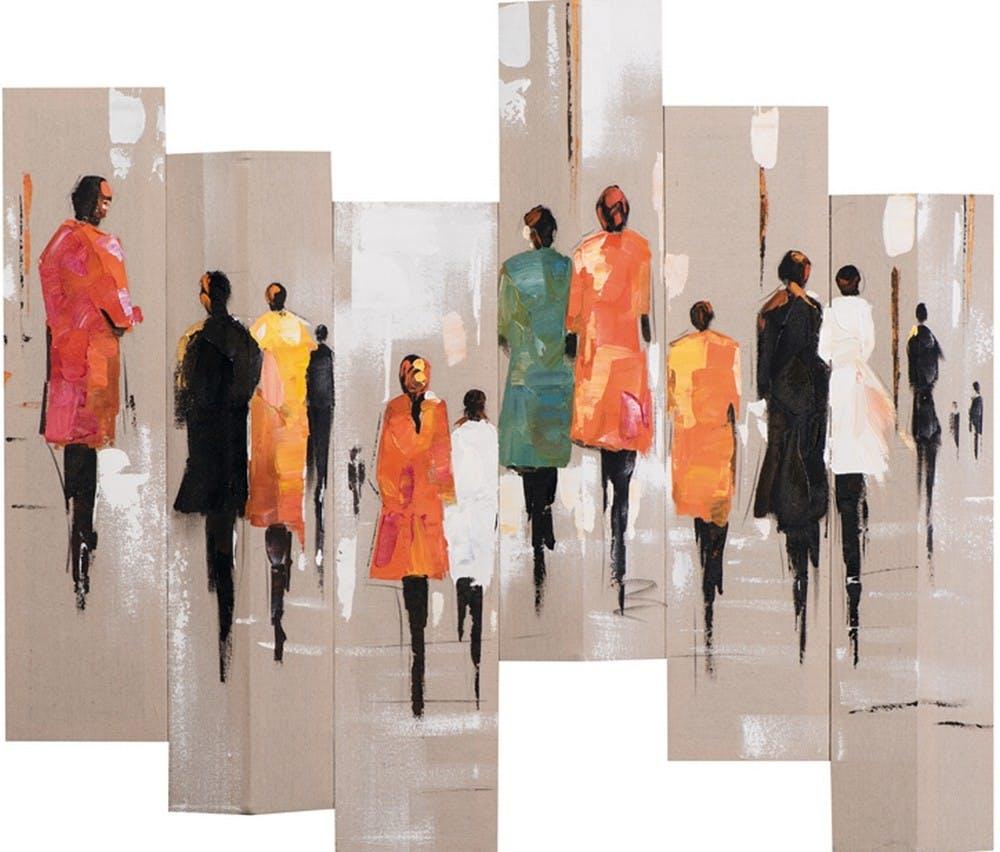 Tableau Hommes et Femmes Sixtyque 105x120. Peint sur toile fibre naturelle. Effet 3D. Peinture acrylique