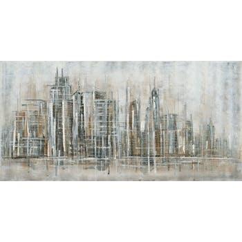 Tableau Paysage urbain abstrait 70x140 Argenté Doré. Peinture acrylique