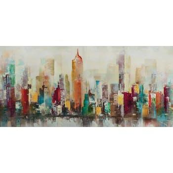 Tableau Paysage urbain POP ART 70X150 Peinture acrylique aspect brillant