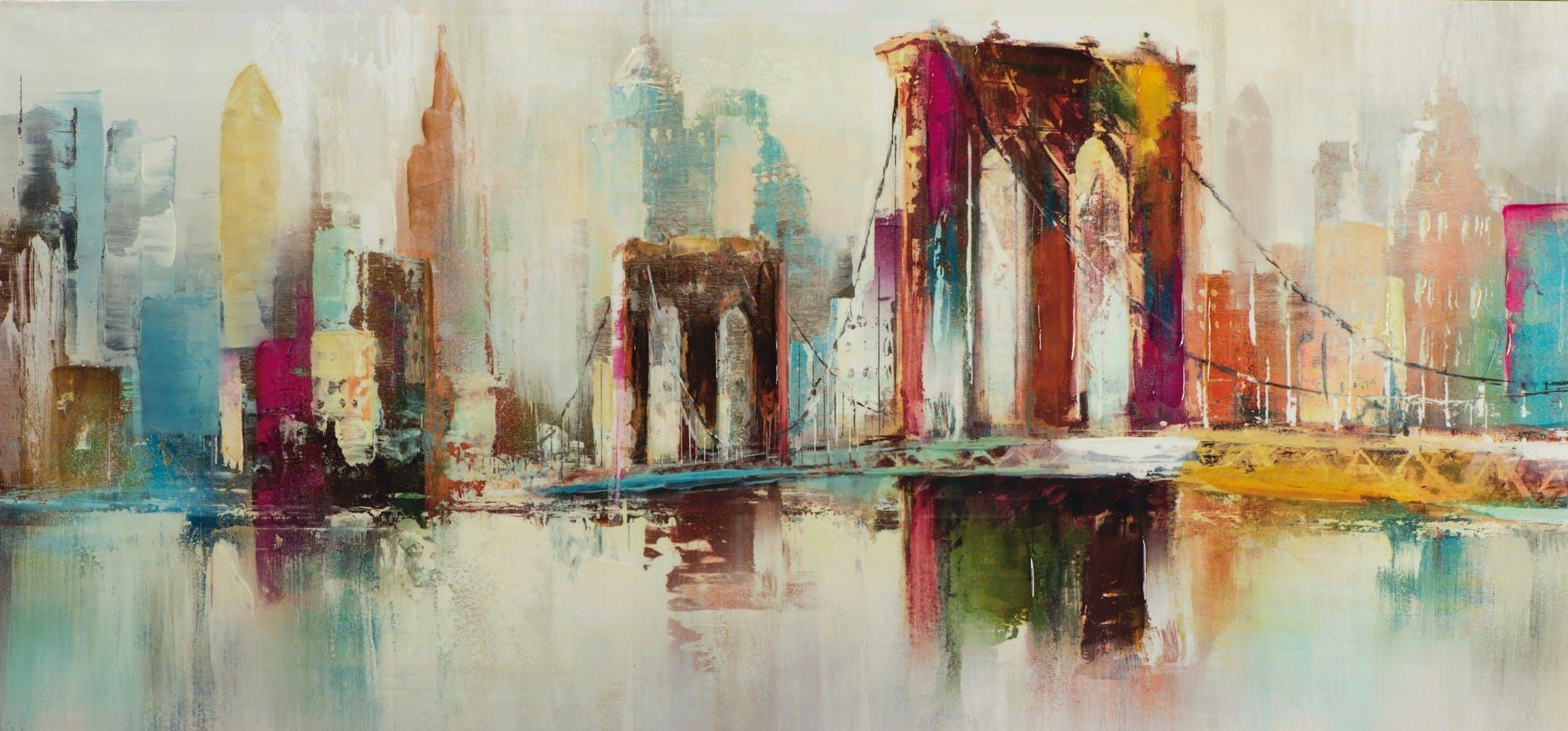 Tableau urbain Pop Art 70X150 - pont et buildings, peinture aspect brillant