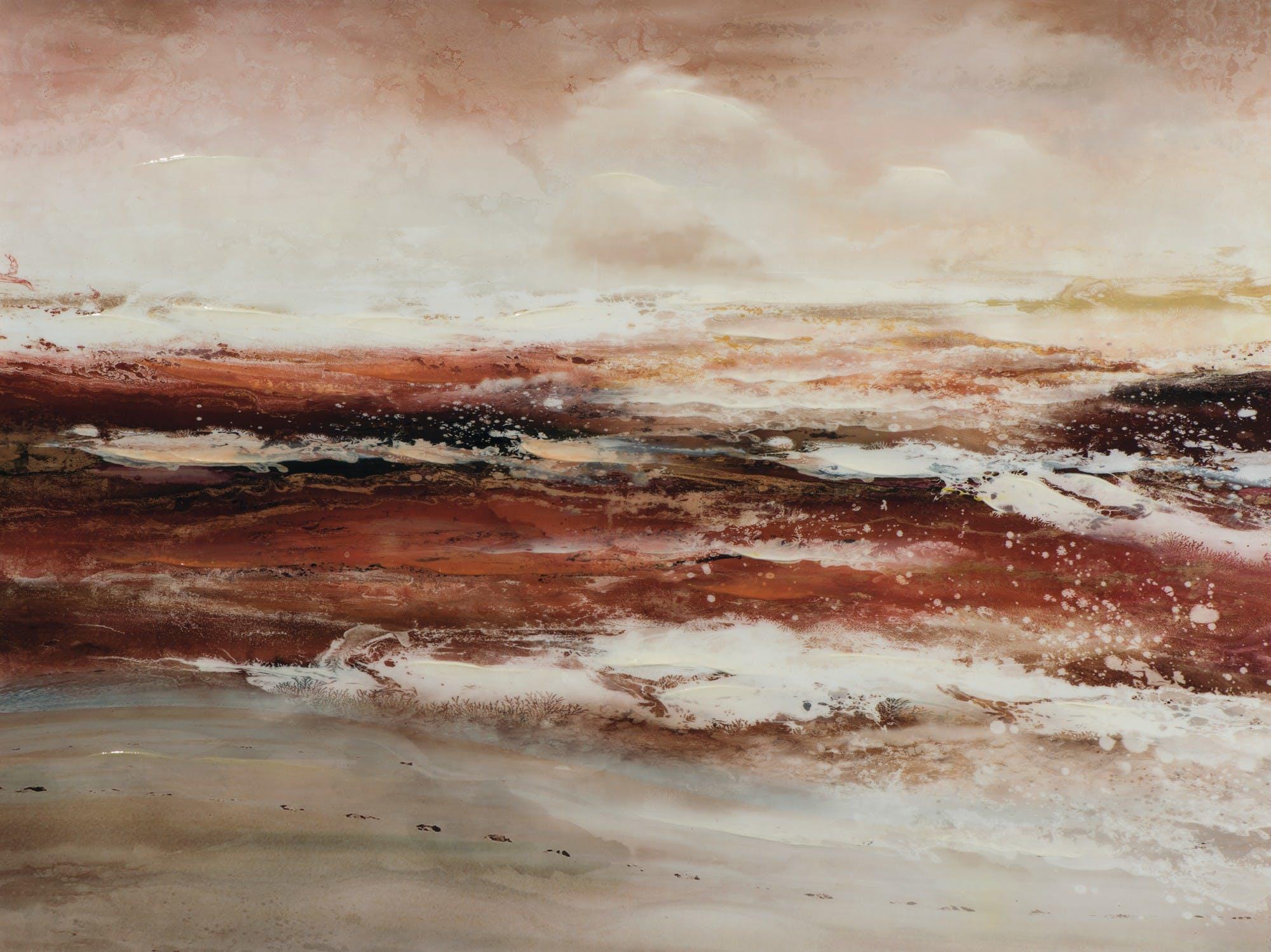 Tableau abstrait 90x120, plage et océan - peinture rouge et grise