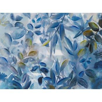 Tableau nature 90x120 - feuillage tropical bleu - peinture acrylique