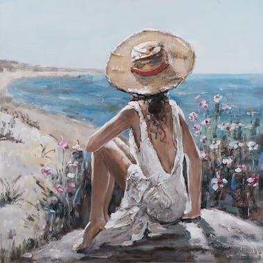 Tableau Femme regardant la mer 100x100 Peinture acrylique