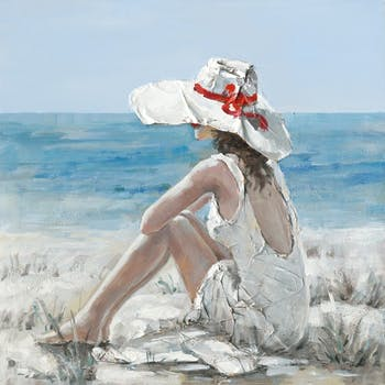 Tableau 100x100 - femme observant l'océan - peinture acrylique