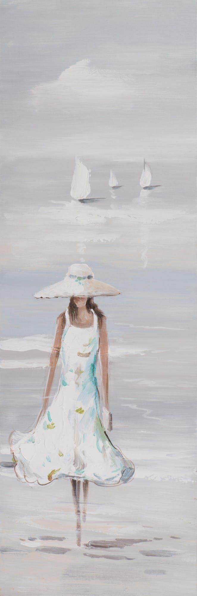 Tableau Femme marchant dans l'eau 30x90 Peinture acrylique