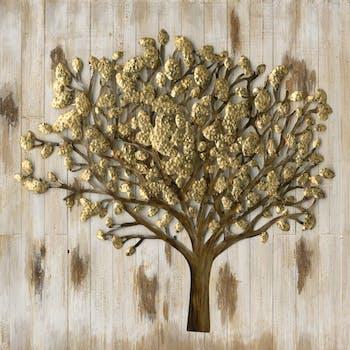 Tableau Arbre 100x100 ajout éléments métal en 3D sur bois. Peinture acrylique