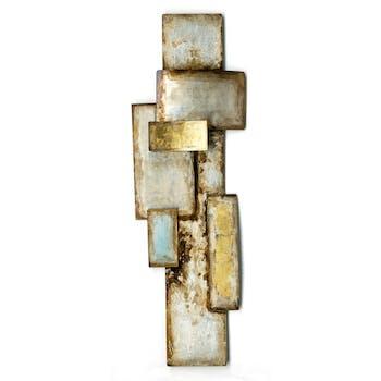 Décoration murale métal assemblage de rectangles dorés argentés 40x120cm