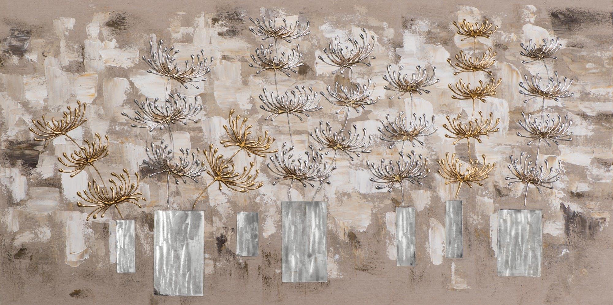 Tableau Fleurs abstrait 70x140 peint sur toile fibre naturelle et ajout d'éléments métal en relief. Peinture acrylique