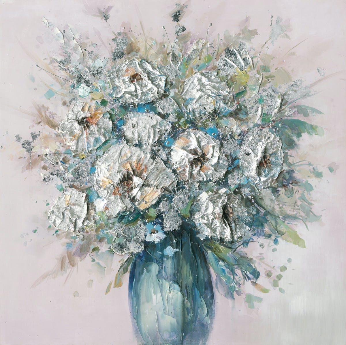 Tableau Fleurs en bouquet abstrait 100x100 Argenté. Peinture acrylique et feuilles métal