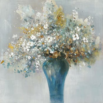 Tableau Fleurs en bouquet abstrait 100x100 Doré. Peinture acrylique et feuilles métal