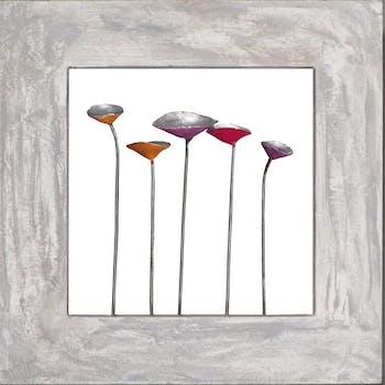 Tableau Fleurs abstrait 40x40 Peinture acrylique sur bois et métal effet 3D
