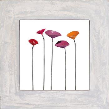 Tableau abstrait 40x40 effet 3D - fleurs colorées, cadre métal