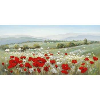 Tableau Champs de fleurs 70x140 Peinture acrylique