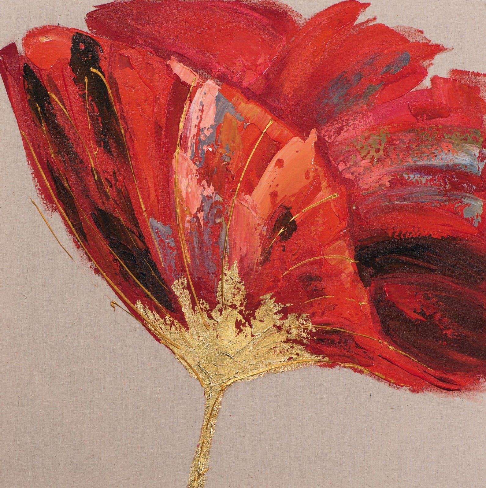 Tableau Fleur 70x70 Doré. Peint sur toile fibre naturelle. Peinture acrylique et feuilles métal