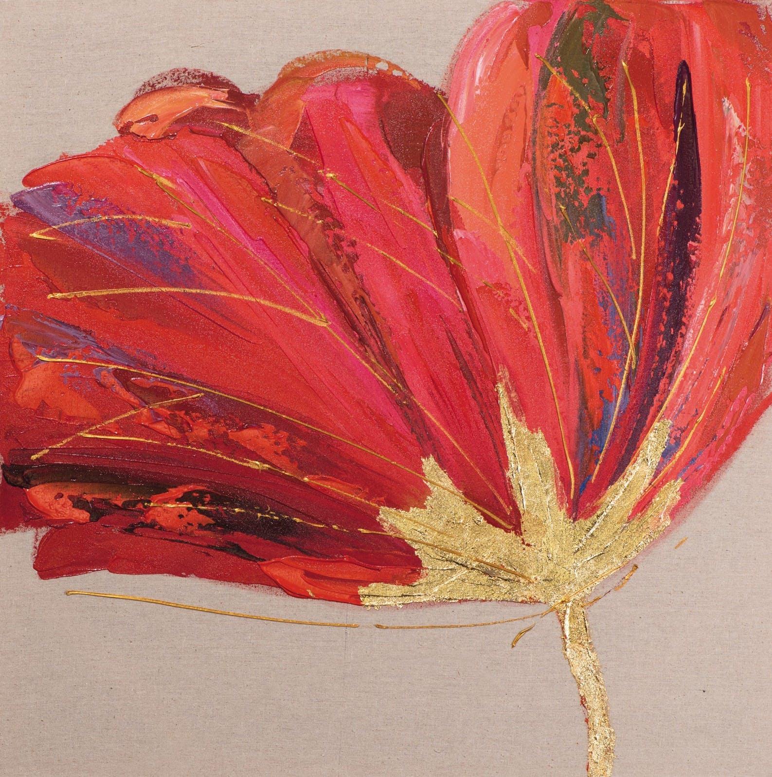 Tableau coquelicot 70x70 - peinture rouge et ajout d'éléments dorés