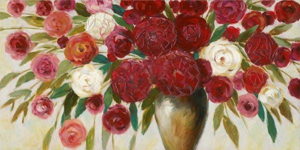 Tableau Fleurs en bouquet abstrait 70x140 Peinture acrylique aspect brillant