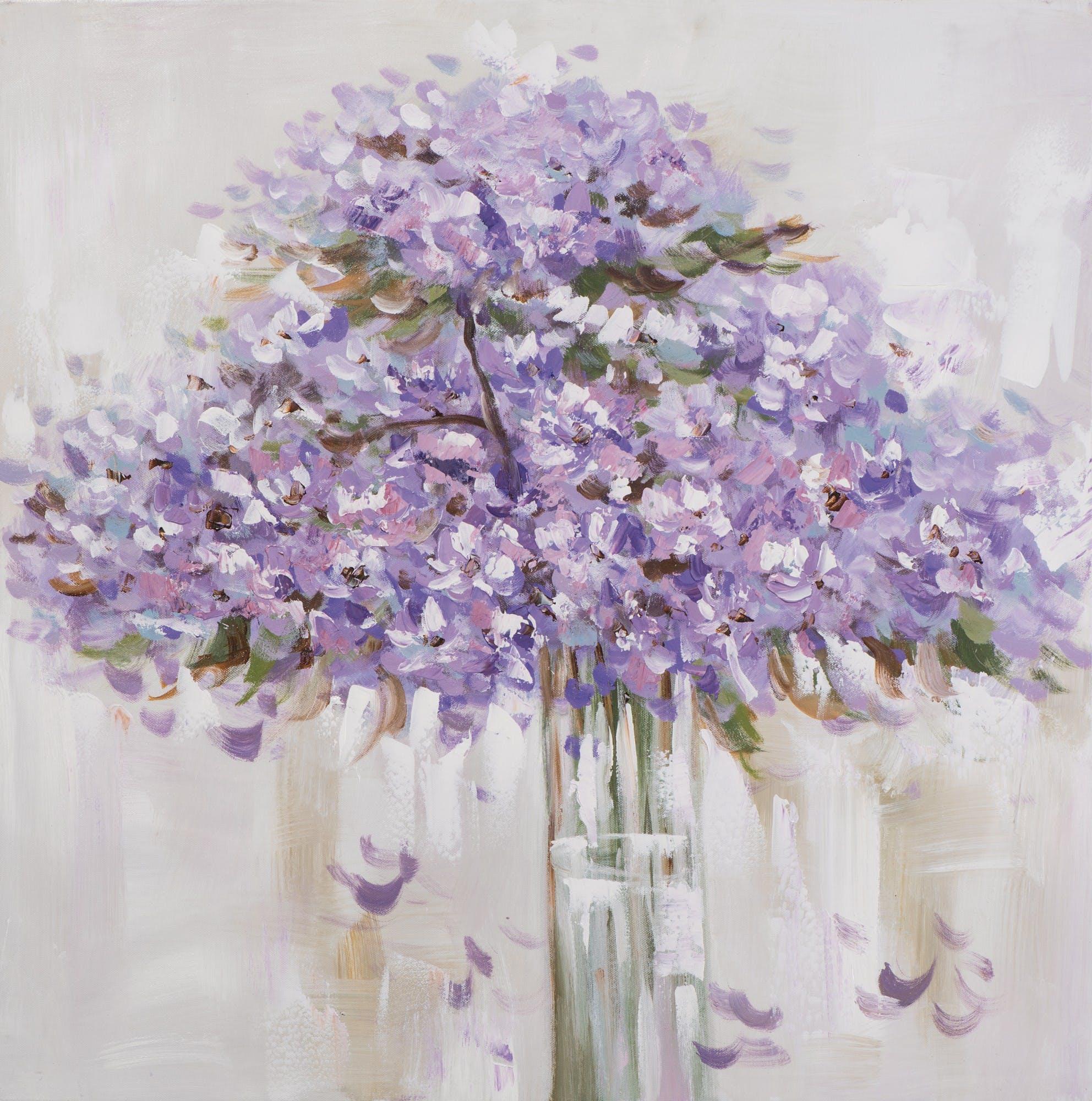 Tableau bouquet de fleurs 70x70 - peinture acrylique mauve, marron et banche