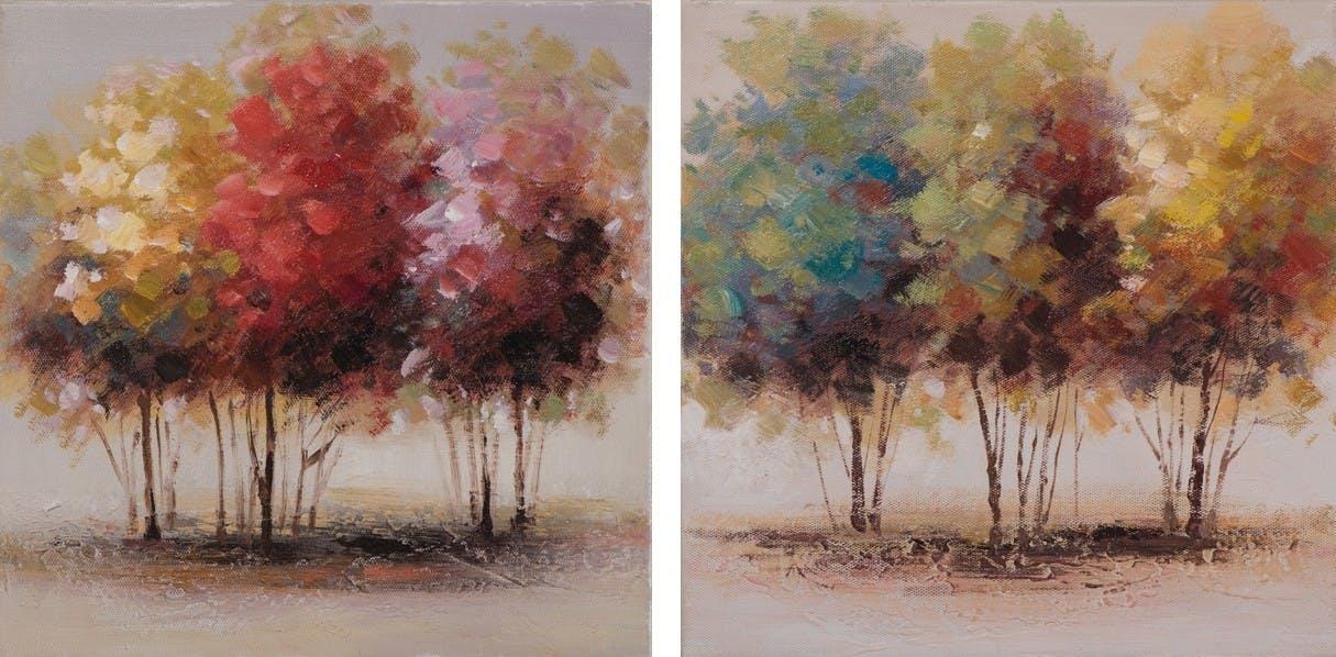 Lot de 2 tableaux Arbres abstrait 25x25. Peinture acrylique