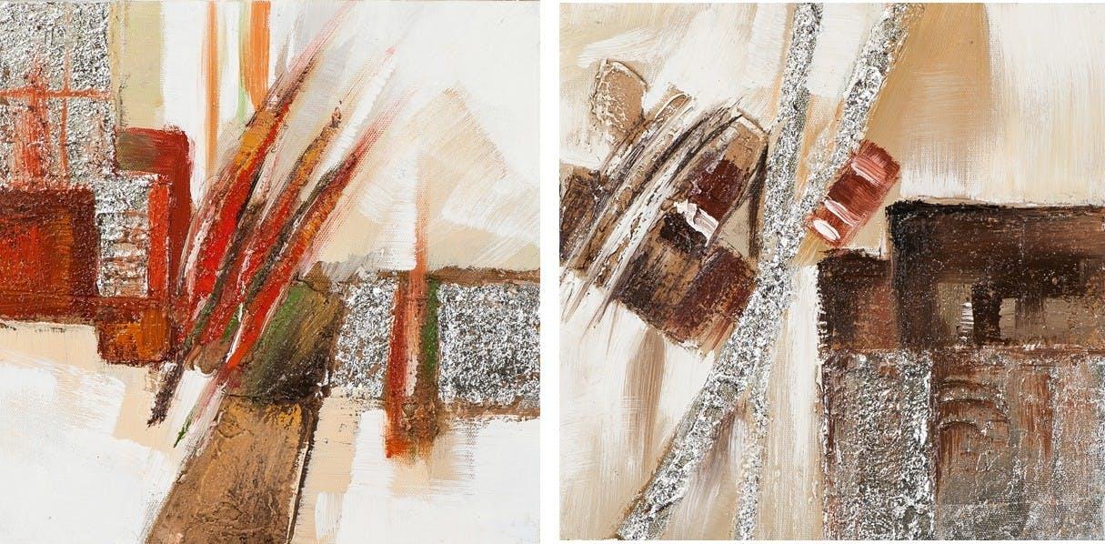 Lot de 2 tableaux Abstrait 25x25. Doré. Peinture acrylique