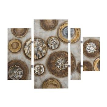 Quadryptique ABSTRAIT Cercles peinture acrylique et éléments métal - tons blancs, beiges, marrons, dorés et argentés 100x134cm
