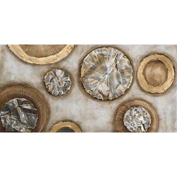 Tableau ABSTRAIT Cercles peinture acrylique et éléments métal - tons blancs, beiges, marrons, dorés et argentés 70x140cm
