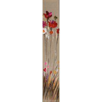 Tableau FLEURS M1 peinture acrylique - tons blancs, rouges, beiges, jaunes, verts et argentés 25x150cm