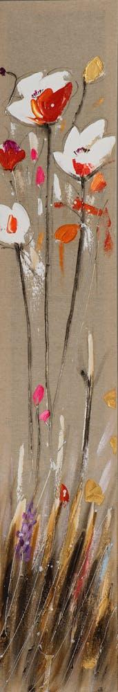 Tableau FLEURS M2 peinture acrylique - tons blancs, rouges, beiges, jaunes, verts et argentés 25x150cm