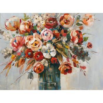 Tableau FLEURS Bouquet dans vase peinture acrylique et feuilles métal - tons noirs, blancs, couleurs et dorés 90x120cm
