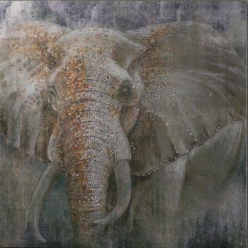 Tableau ANIMAL Elephants peinture acrylique et éléments métal - tons beiges, marrons et argentés 90x90cm