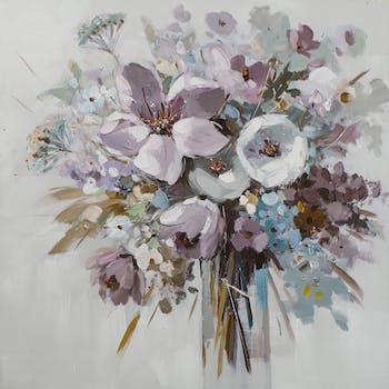 Tableau FLEURS Bouquet dans vase M1 peinture acrylique - tons noirs, blancs, beiges, marrons, verts, bleus et argentés 80x80cm