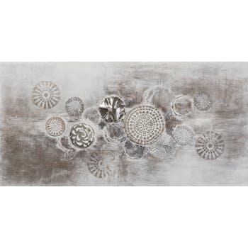 Tableau ABSTRAIT Cercles peinture acrylique et éléments métal - tons blancs, beiges et argentés 70x140cm