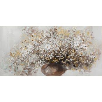 Tableau FLEURS bouquet vase marron peinture acrylique et feuilles métal - tons noirs, blancs, couleurs, dorés et argentés 70x140