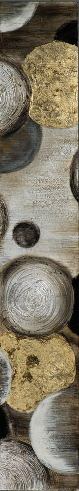 Tableau ABSTRAIT Cercles M1 peinture acrylique et feuilles métal - tons noirs, blancs, dorés et argentés 25x150cm